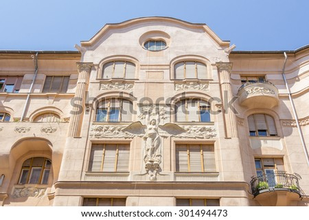 Facade of an apartment building in Budapest Hungary - stock photo