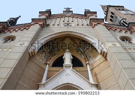 Facade of an old church - stock photo