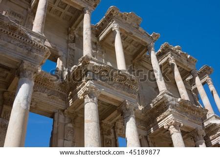 Facade of ancient Celsus Library in Ephesus, Turkey - stock photo