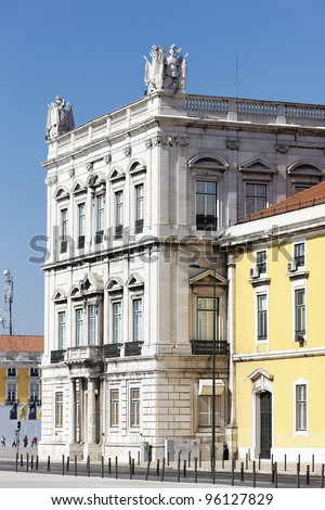facade of building at the commerce square in Lisbon - stock photo