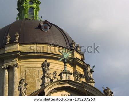 Facade of Dominican Church. Center of the town Lvov. Ukraine. - stock photo