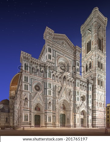 Facade of Florence Cathedral, Basilica di Santa Maria del Fiore (Saint Mary of the Flower) with tower, Florence, Italy - stock photo