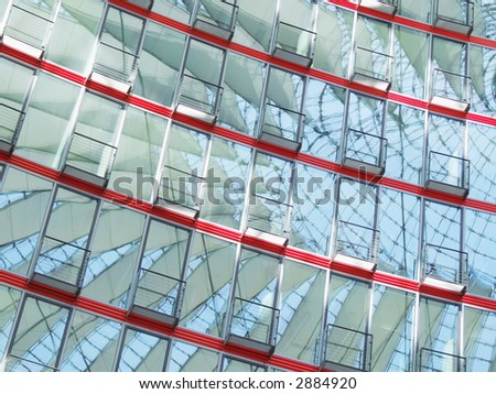 Facade of glass in the Sony-Center in Berlin - stock photo