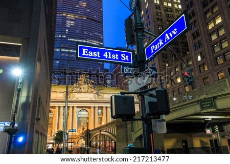 Facade of Grand Central Terminal at twilight in New York, USA - stock photo