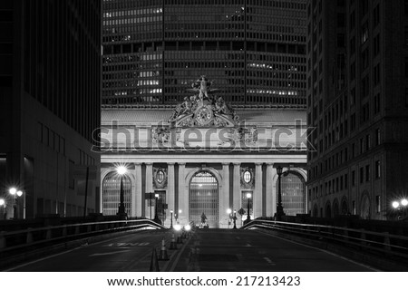 Facade of Grand Central Terminal at twilight in New York, USA in black and white - stock photo