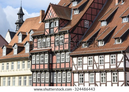 Facade of half-timbered houses in Quedlinburg town, Germany - stock photo