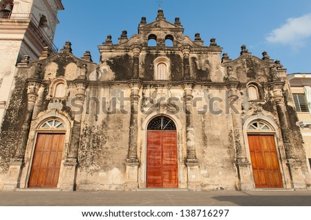 Facade of, La Merced, one of the oldest churches in South America - stock photo