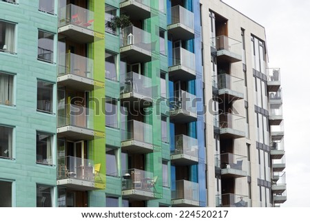 Facade of modern apartment buildings - stock photo