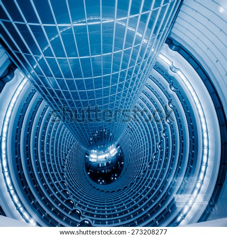 facade of modern office building, blue toned images. - stock photo