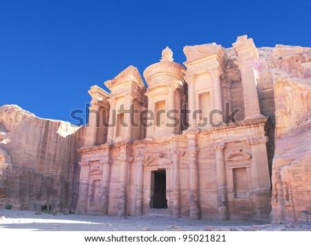 Facade of Monastery at Petra, Jordan - stock photo