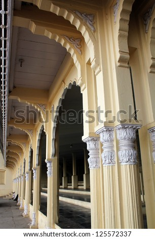 Facade of mysore palace with arches in indo-saracenic style. - stock photo