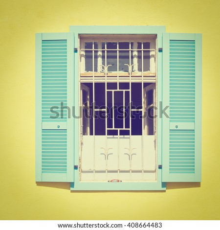 Facade of Old Building after Reconstruction in Tel Aviv, Instagram Effect - stock photo