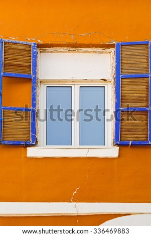 Facade of Old Building before Reconstruction in Tel Aviv - stock photo