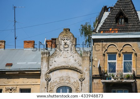 Facade of old buildings in the historical city centre. Lviv, Ukraine - stock photo
