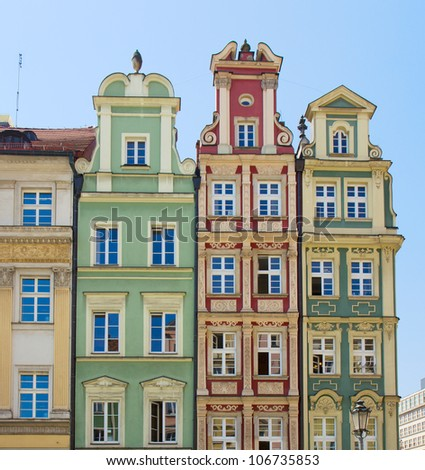 facade of old houses of Wroclaw, Poland - stock photo