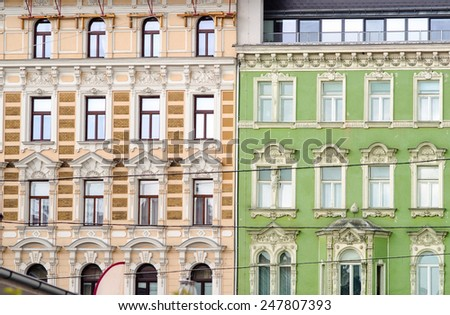 facade of old residential building in vienna, austria - stock photo