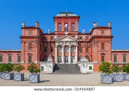 Facade of Racconigi palace - former royal residence of Savoy house in Piedmont, Northern Italy. - stock photo