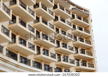 Facade of residential building, the hotel's terraces - stock photo