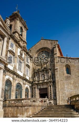 Facade of Sao Francisco church in Porto. - stock photo