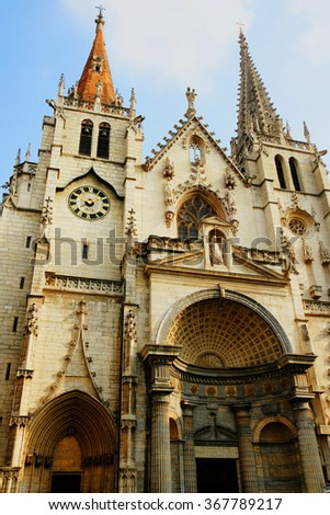 Facade of St Nizier church in Lyon, France - stock photo