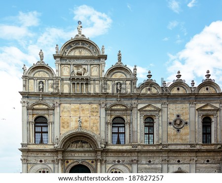 Facade of the Basilica dei Santi Giovanni e Paolo - Venice, Italy - stock photo