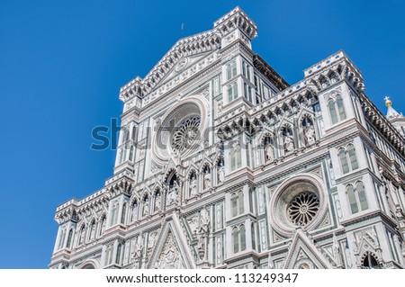 Facade of the Basilica di Santa Maria del Fiore (Basilica of Saint Mary of the Flower), the main church of Florence, Italy - stock photo