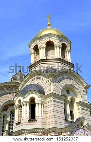 Facade of the biggest Russian Orthodox Church in Riga, Latvia - stock photo