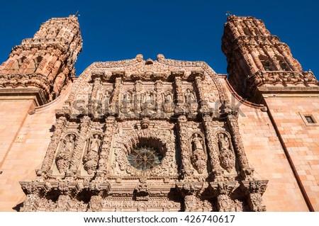 Facade of the Cathedral of Zacatecas (Mexico) - stock photo