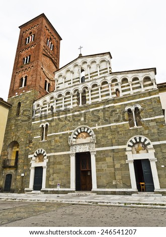Facade of the Church of San Pietro Somaldi and Campanile in Lucca, Tuscany, Italy - stock photo