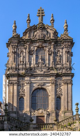 Facade of the Clerigos church in downtown Porto. - stock photo