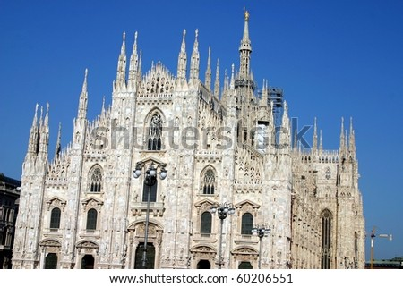 Facade of the Duomo in Milan, Italy - stock photo