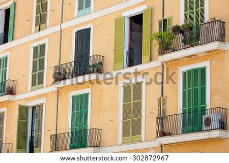 facade of the famous Plaza Major in Palma de Mallorca, Spain - stock photo