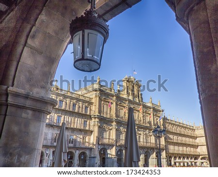 facade of the famous Plaza Mayor of Salamanca, Spain - stock photo
