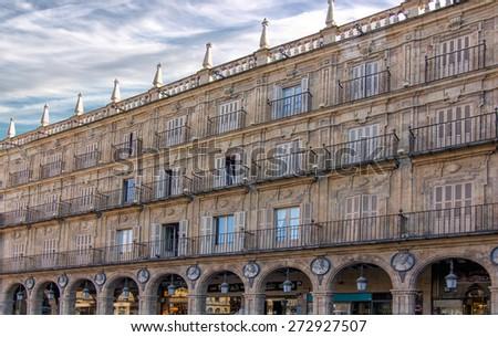 facade of the famous Plaza Mayor of Salamanca, Spain - stock photo