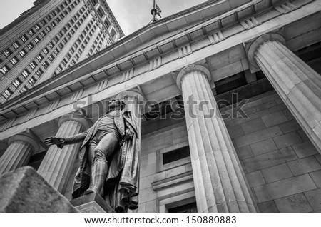 Facade of the Federal Hall with Washington Statue on the front, Manhattan, New York City - stock photo