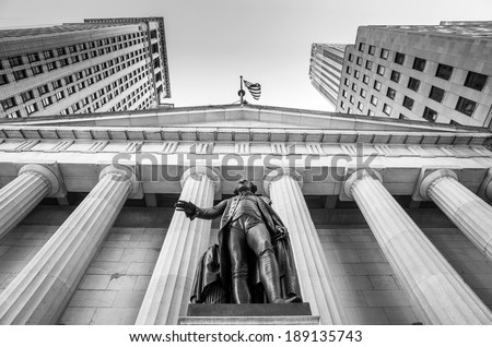 Facade of the Federal Hall with Washington Statue on the front, wall street, Manhattan, New York City in black and white - stock photo