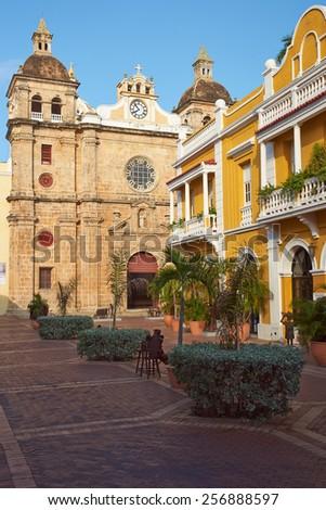 Facade of the historic Iglesia de San Pedro Claver in the Spanish colonial city of Cartagena in Colombia. - stock photo