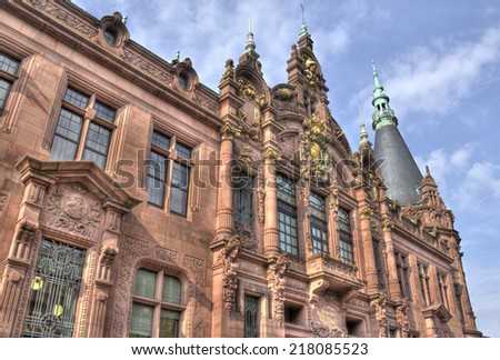 Facade of the historical main building of Heidelberg University library in Germany - stock photo