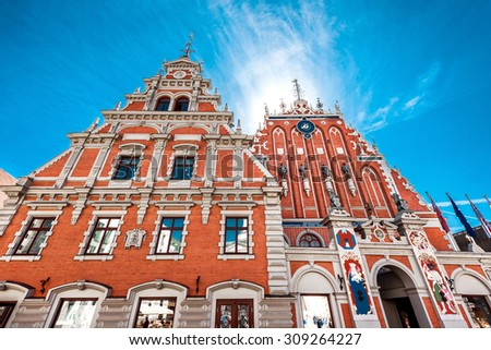 Facade of the House of Blackheads. The building has been destroyed during the Second World War, and restored in 1999. Riga, Latvia - stock photo