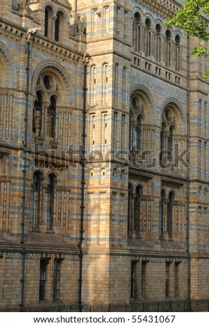 Facade of the National History Museum in London, UK - stock photo