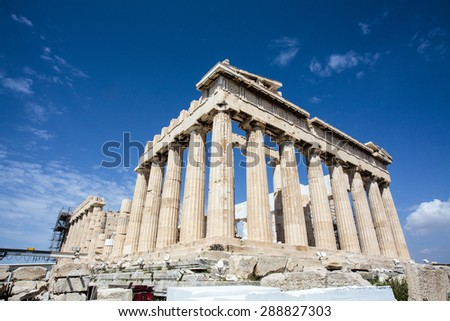 Facade of the Parthenon temple at the Acropolis in Athens, an Unesco World Heritage Site in Greece, Europe - stock photo