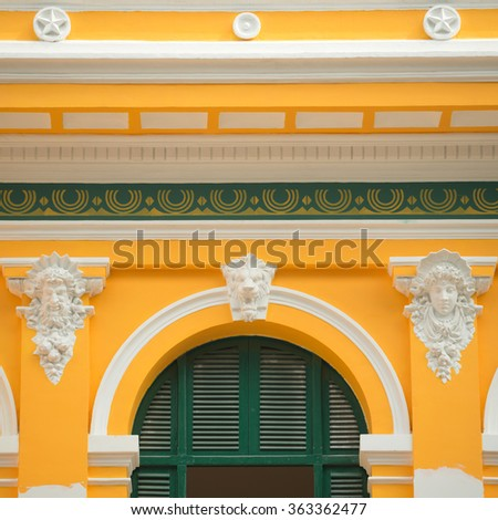 Facade of the Saigon Central Post Office, in Ho Chi Minh City, Vietnam - stock photo