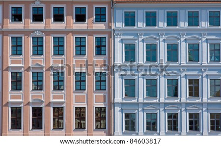 Facade of two old town houses in Dresden - stock photo