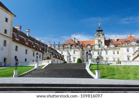Facade of Valtice castle, one of the most impressive Baroque residences of Central Europe. - stock photo