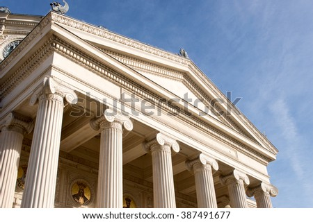 facade old building with columns - stock photo