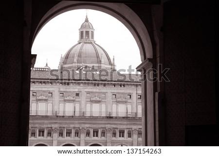 Facade on the Piazza Maggiore - Main Square, Bologna, Italy in Black and White Sepia Tone - stock photo