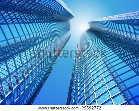 Facade - shapes from a modern building, with structural lines reflection - stock photo