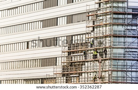 Facade thermal insulation works - stock photo