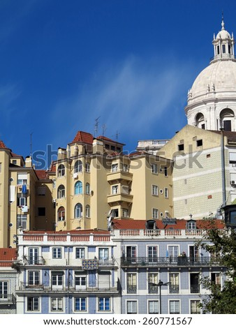 facades of antiques urban building in lisbon; portugal                          - stock photo