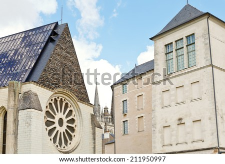 facades of medieval urban houses in Angers city, France - stock photo